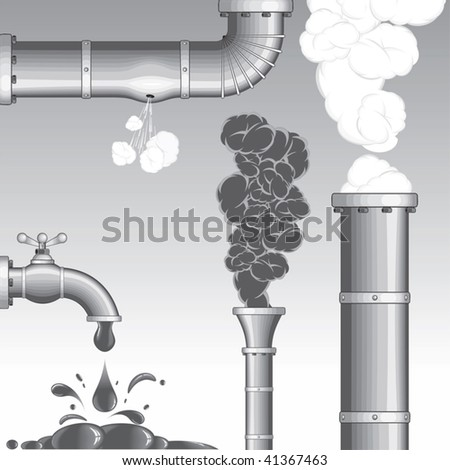 Industry accident isolated vector elements Chimney with Smog and steam , hole at pipe, broken faucet leakage (new 42725515)