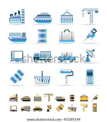 Industry and Business icons - vector icon set. 2 colors included.