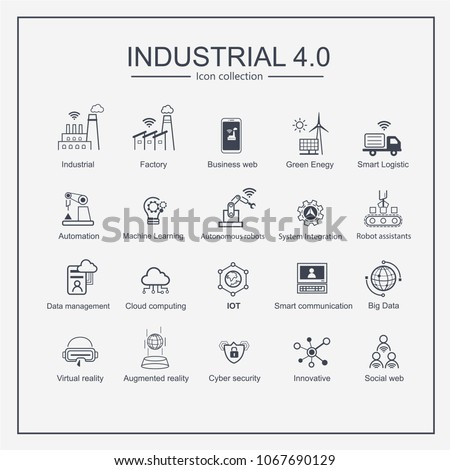 Industry 4.0 and smart productions icon set: smart industrial revolution, automation, robot assistants, cloud and innovation. - Shutterstock ID 1067690129