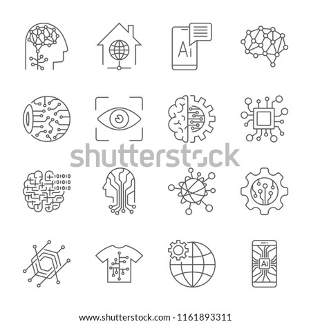 Industry 4.0, Artificial Intelligence and Internet of Things icons set. Digitalization concept: enterprise IoT, smart factory, industry 4.0, AI - vector illustration