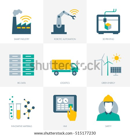 Industry 4.0, business, automation and productivity icons set