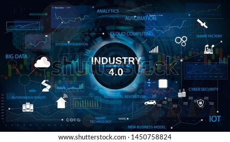 Industry 4.0 concept banner with keywords and icons. Interface with the inscription Industry 4.0. The concept of cyber-physical systems. Industry Infographics, IOT, Cloud Computing. Vector banner