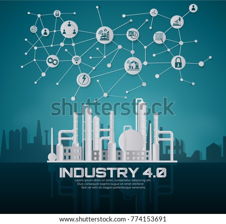 Industry 4.0 concept image. industrial instruments in the factory with cyber and physical system icons ,Internet of things network,paper art style - Shutterstock ID 774153691