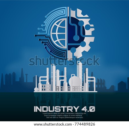 Industry 4.0 concept image. industrial instruments in the factory with cyber and physical system icons ,Internet of things network,paper art style