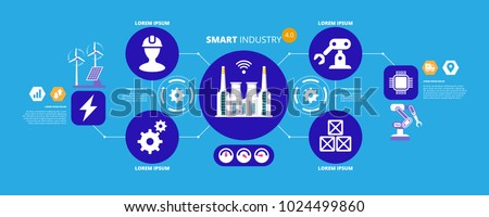 Industry 4.0 concept, smart factory with icon flow automation and data exchange in manufacturing technologies. Vector illustration