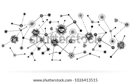 industry 4.0 concept,smart factory with icon flow automation ,Industrial internet of things as vector illustration