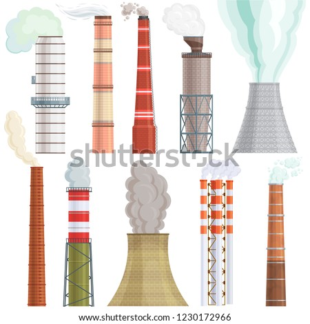 Industry factory vector industrial chimney pollution with smoke in environment illustration set of chimneyed pipe factory with toxic air power energy isolated on white background