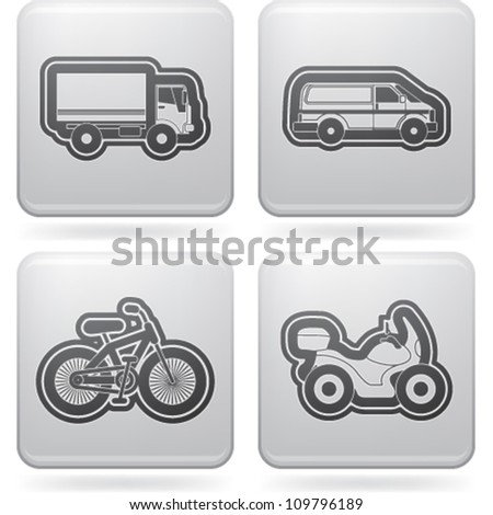 Industry & Heavy industry icons set, pictured here from left to right:  Truck, Van, Bike, Motorbike.