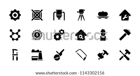 Industry icon. collection of 18 industry filled icons such as gear, worker, hacksaw, chainsaw, hummer, cargo wagon, screwdriver. editable industry icons for web and mobile.