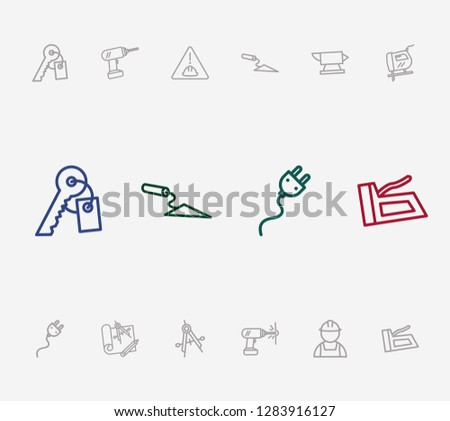 Industry icon set and trowel with stapler, builder and anvil. Precision related industry icon vector for web UI logo design.