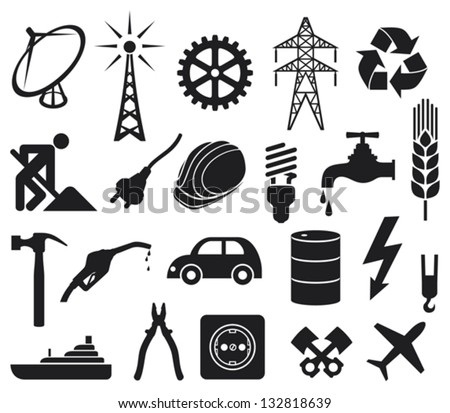 industry icons collection (power plug, oil barrel, hammer, construction workers hard hat, power line, fuel pump, water tap, radio antenna, lightning symbol, energy saving light bulb)