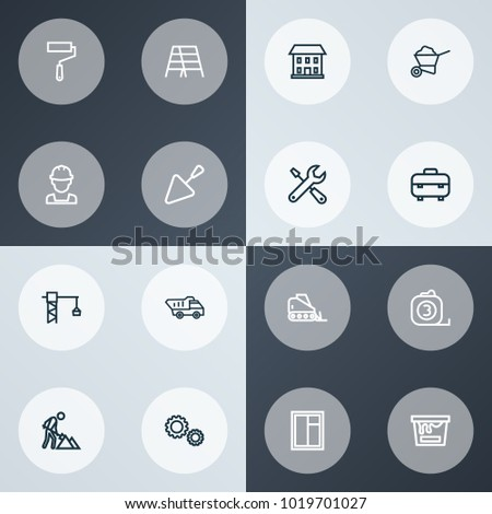 Industry icons line style set with stair, glass frame, lifting hook and other builder elements. Isolated vector illustration industry icons.
