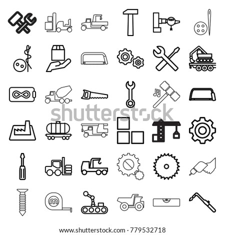 Industry icons. set of 36 editable outline industry icons such as forklift, jetway, brick wall, needle button, blade saw, wrench, screwdriver, truck with hook, hacksaw