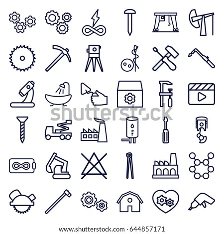 industry icons set set of 36