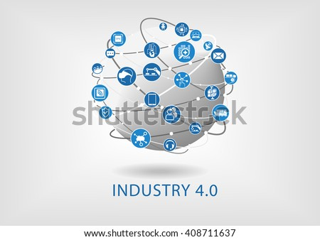 Shutterstock Industry 4.0 infographic. Connected smart devices with globe.