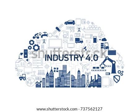 Industry 4.0, iot, cloud, icon - Shutterstock ID 737562127