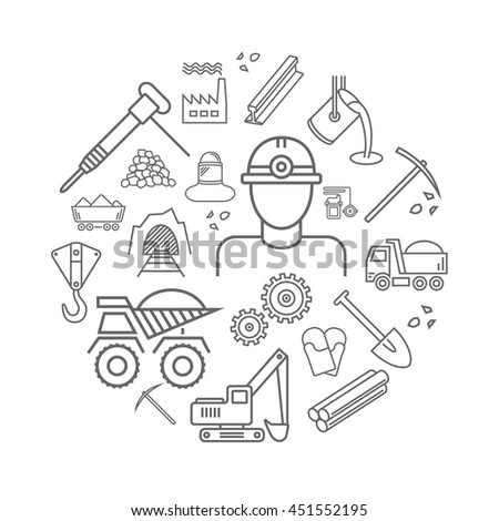 Industry line icons set. Metallurgy and Coal mining sign in a circle.