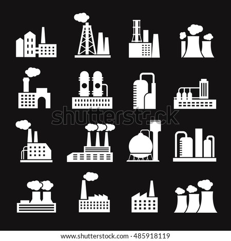 Industry manufactory buildings factory and plant silhouettes vector icons. Industry manufacturing and power factory illustration