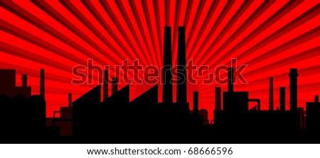 Industry silhouette - dawn red
