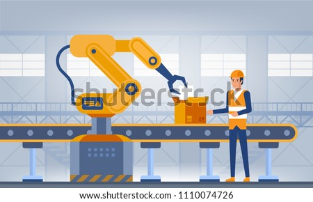 Industry 4.0 Smart factory concept. Workers, robot arms and assembly line. Technology vector illustration
