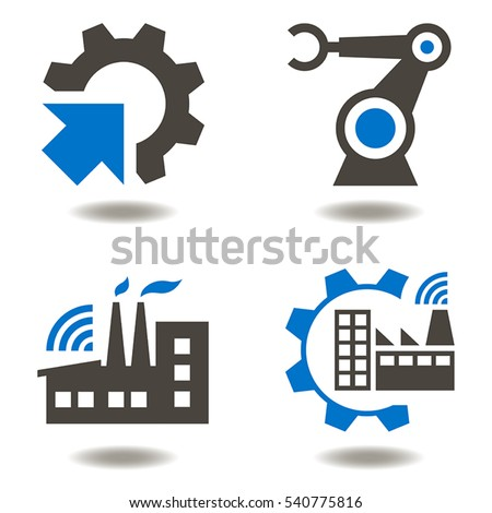 industry 40 vector icon set