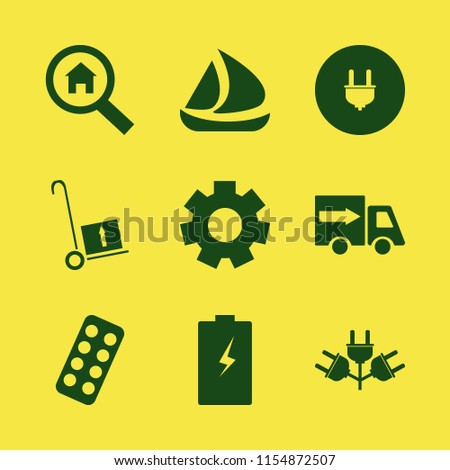 industry vector icons set with