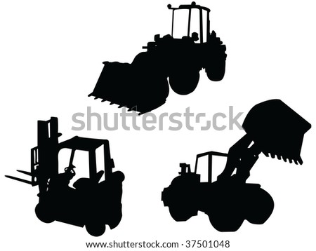 industry vehicle and equipment black bagger bulldozer fork-truck vector silhouette