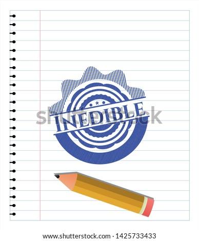 Inedible pen strokes emblem. Blue ink. Vector Illustration. Detailed.
