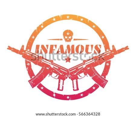 infamous  print  badge  emblem