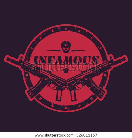infamous  round print  emblem