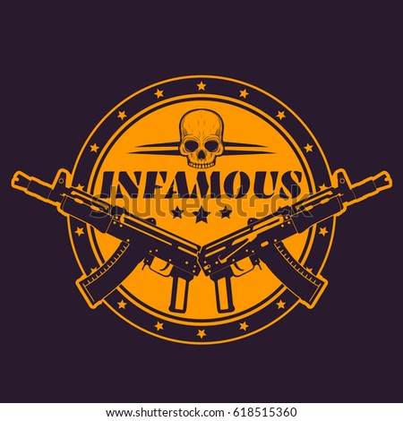 infamous  round t shirt print