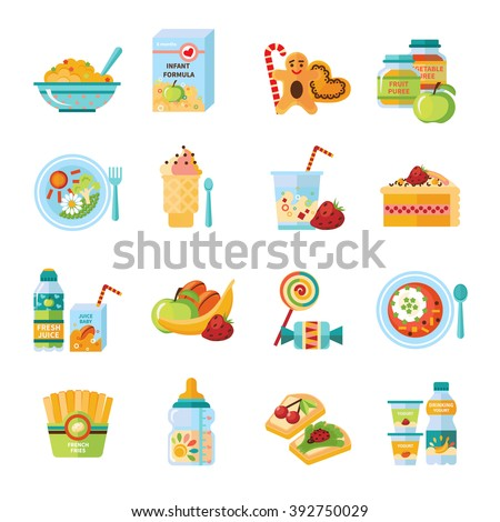 infant and baby food flat icons