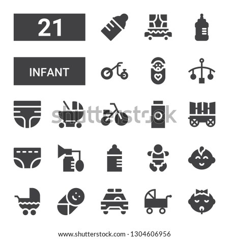 infant icon set. Collection of 21 filled infant icons included Baby, Pushchair, Safety car, Stroller, Baby boy, Feeding bottle, Breast pump, Diaper, Carriage, Baby powder, Tricycle