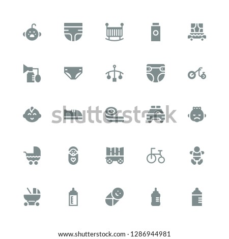 infant icon set. Collection of 25 filled infant icons included Feeding bottle, Baby bottle, Baby, Baby carriage, Tricycle, Carriage, Stroller, Safety car, Belts candy, shoes