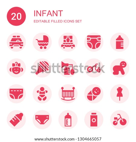 infant icon set. Collection of 20 filled infant icons included Safety car, Stroller, Carriage, Diaper, Feeding bottle, Baby, Nasal aspirator, Breast pump, Tricycle, Crib, Dummy