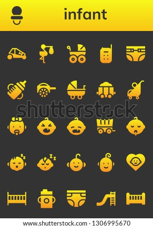 infant icon set. 26 filled infant icons.  Collection Of - Buggy, Dummy, Stork, Baby carriage, Baby monitor, Diapers, Feeding bottle, Carriage, Stroller, Baby, boy, Cot, Diaper