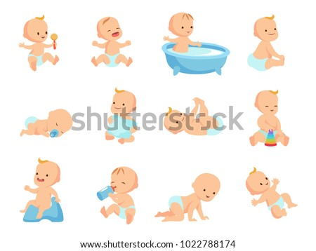 Infant newborn baby big set in different activity isolated on white. Child and infant, boy and girl little baby. Vector illustration