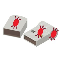 Infected usb icon. Isometric illustration of infected usb vector icon for web