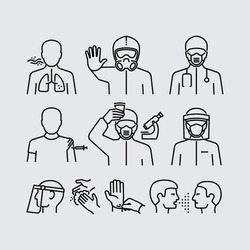 Infection Control. Infectious diseases. Personal Protective Equipment. Clean you hands Vector Line Icons