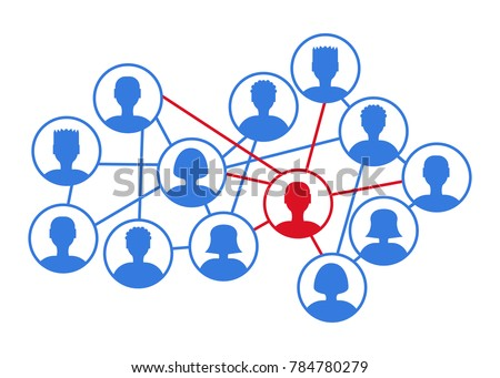Infection spreading concept. Stock vector illustration of user icons in a community, social network with one ill person. Flu pandemic, disease epidemics, virus and bacteria transmission.