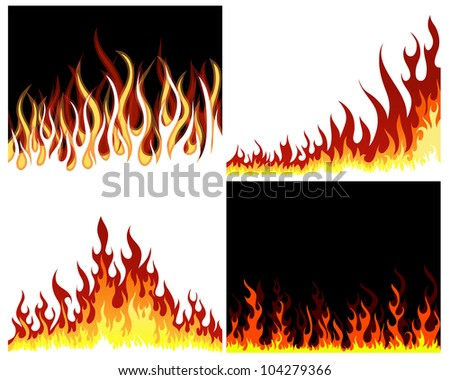 Inferno fire vector background set for design use