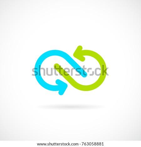 Infinite arrows vector logo illustration isolated on white background