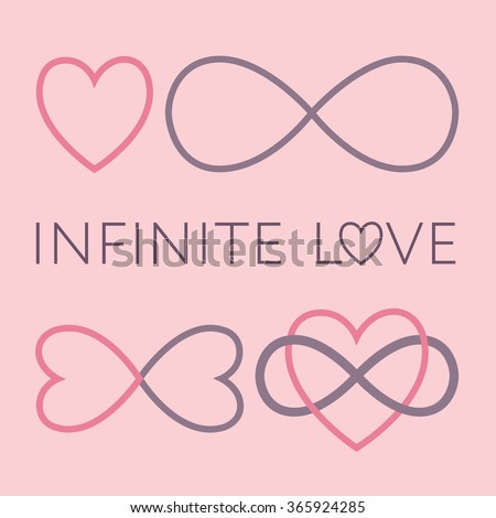 Infinite Love Symbol Set Endless Love Sign Two Hearts Vector