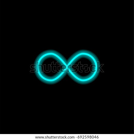 Infinite symbol  blue glowing neon ui ux icon. Glowing sign logo vector #692598046