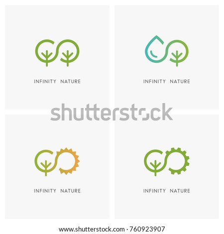 infinity and nature logo set