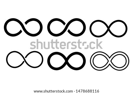 Infinity eternity symbol in variations set design. Infinity icon in variation set design template. Vector illustration.