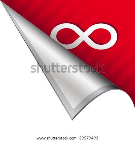 Infinity math symbol icon on vector peeled corner tab suitable for use in print, on websites, or in advertising materials.