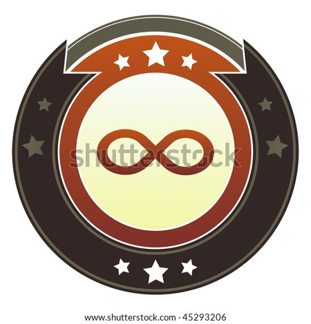 Infinity or math symbol icon on round red and brown imperial vector button with star accents