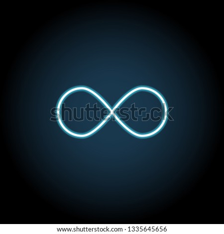 Infinity sign icon in neon style. Simple thin line, outline vector of web, minimalistic icons for UI and UX, website or mobile application #1335645656