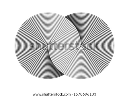 Infinity sign made of two combined disks composed of metal wires. Limitless strip symbol. Vector illustration isolated on white background.